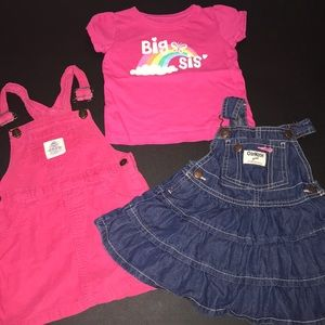 Big Sis Baby Girl Bundle Lot Overalls Dress